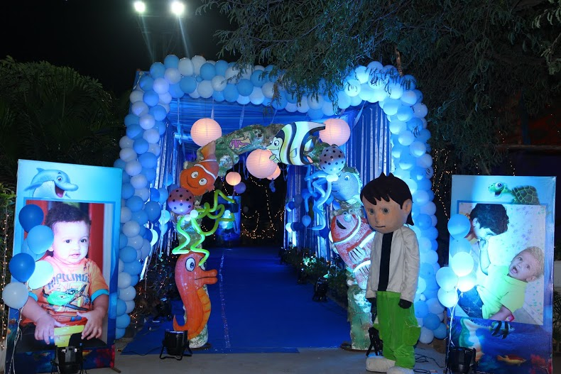 birthday party stage decorations in Vijayawada Theme stage