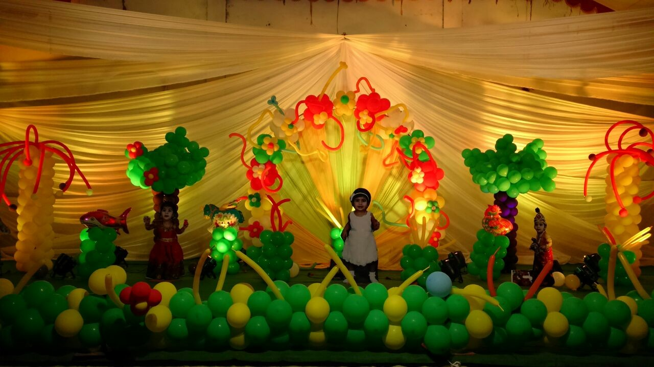 kids birthday stage balloon decorations in Vijayawada Shobhas